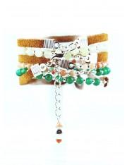 Bracelet multitour Paprika chrysoprase