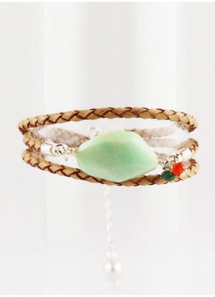 Bracelet multitour Leo chrysoprase argent