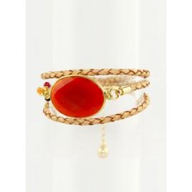 Bracelet multitour Léo cornaline serti plaqué or