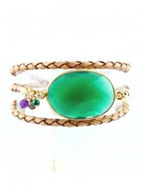Bracelet multitour Leo onyx vert serti plaqué or