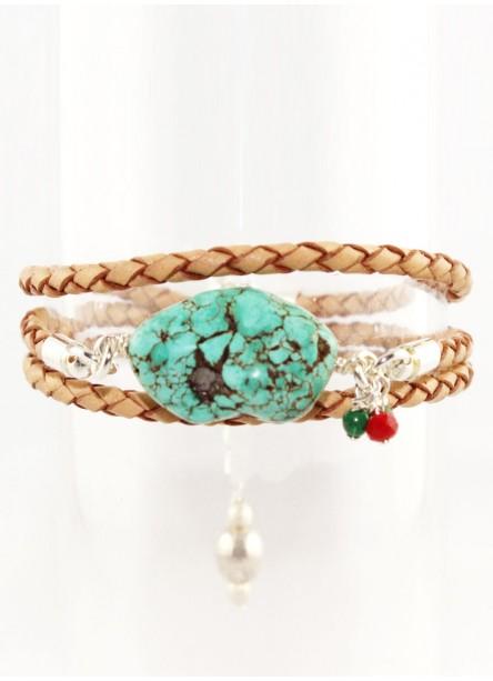Bracelet multitour Leo turquoise